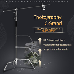 Photo Studio 2.6M/8.5FT Stainless Steel Foldable Stable Light Stand Tripod Magic Leg Photography C-Stand For Spot Light,Softbox