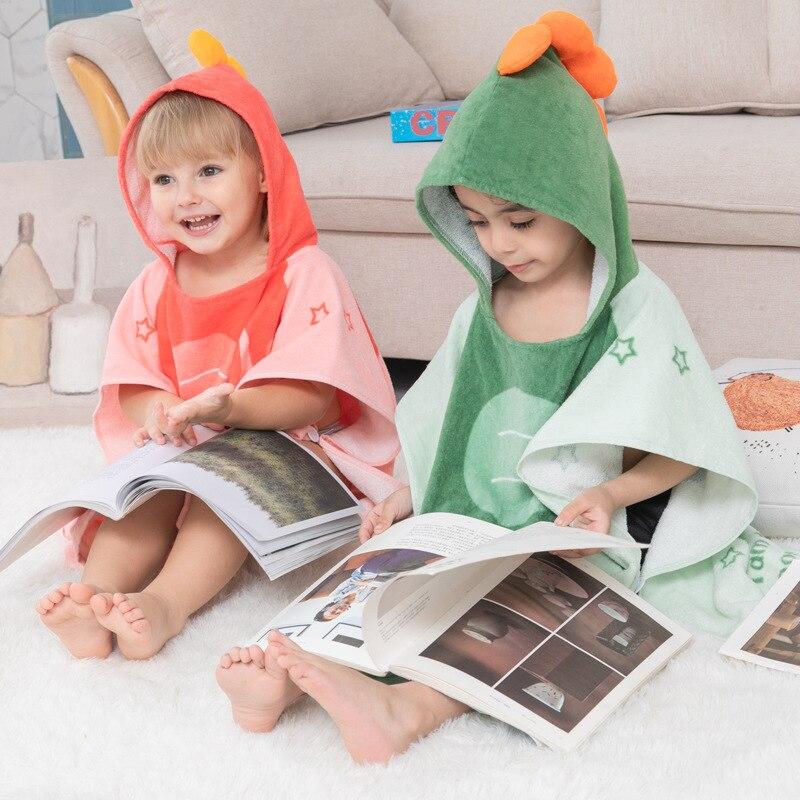 CHILDREN'S Cartoon Bathrobe Bath Towel Cloak Baby Bath Hooded Bathrobe Pure Cotton Cartoon Wearable Bath Towel Beach Towel