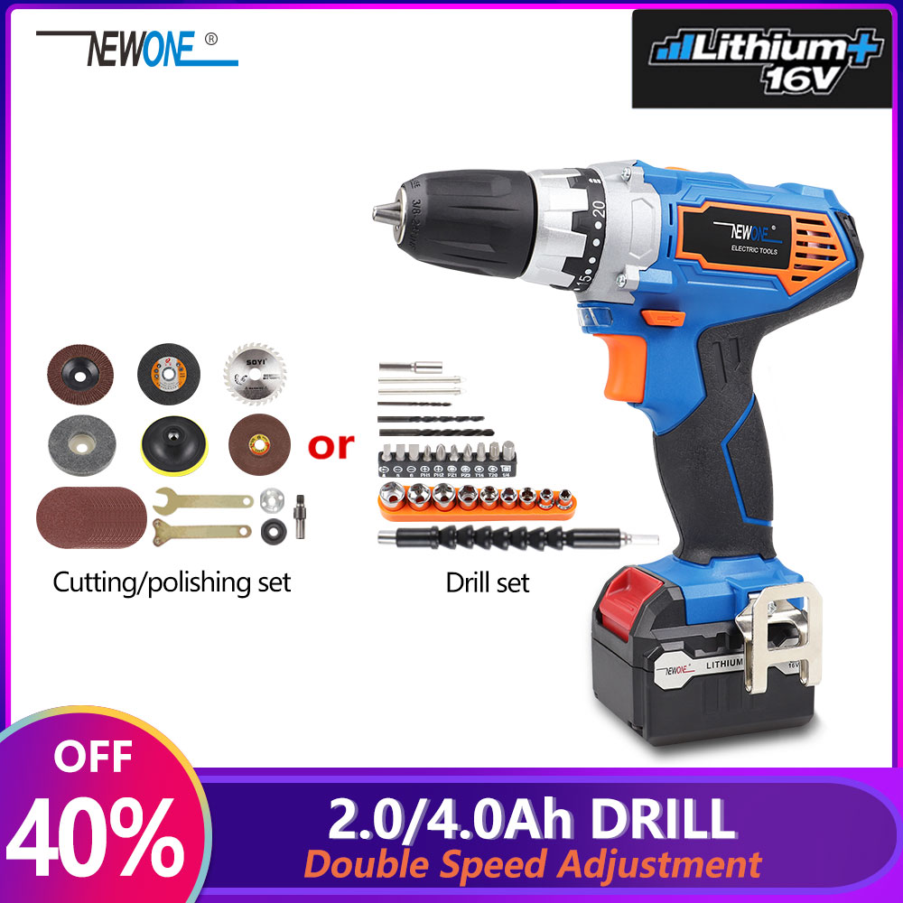 NEWONE Portable <font><b>16V</b></font> Double Speed Li-ion Electric Drill Cordless Drill with LED Working Light 2000mAh/4000mAh 20+1 Torque Setting image