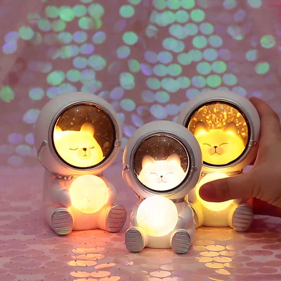 Cat Led Night LED Light Astronaut Moon Nursery Lamp Table Decorative Kids Toy US