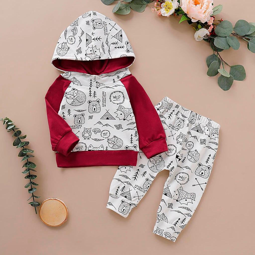Menino da criança Roupas de Bebê Recém-nascidas Infantis Meninos Letra Dos Desenhos Animados Moletom Com Capuz Tops + Calça Roupas Definir Conjuntos de Roupa De Menino Meninos roupas