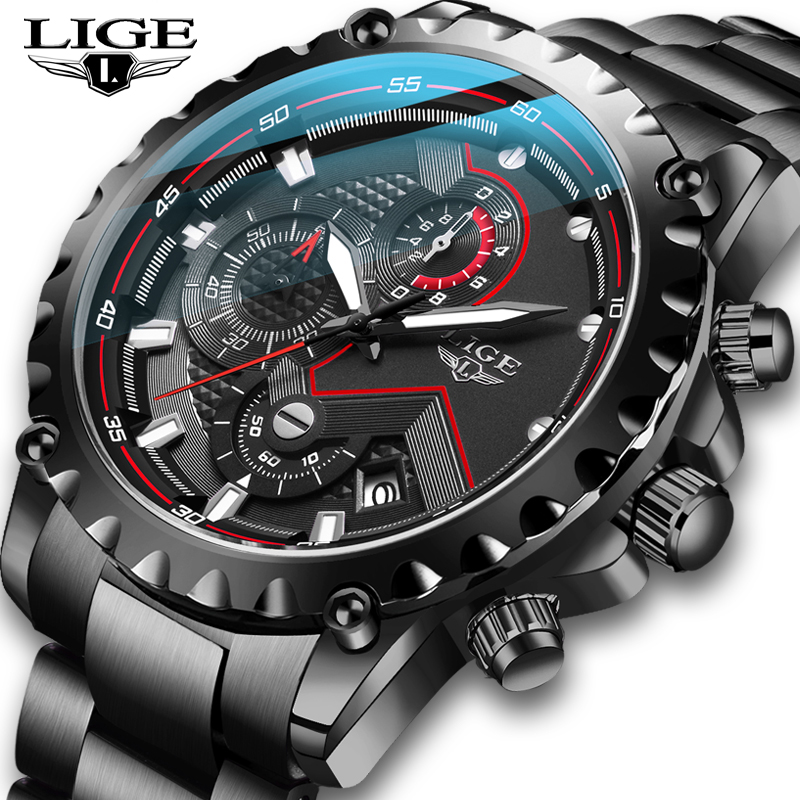 LIGE New Men Watches Top Luxury Brand Fashion Sport Waterproof Chronograph Male Stainless Steel Wristwatch Men Relogio Masculino(China)