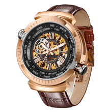 Männer Mechanische Armbanduhr Original Dual Time Zone Uhr Multifunktionale Business Männer Uhr Wasserdichte Hohl Automatische Uhr Mann