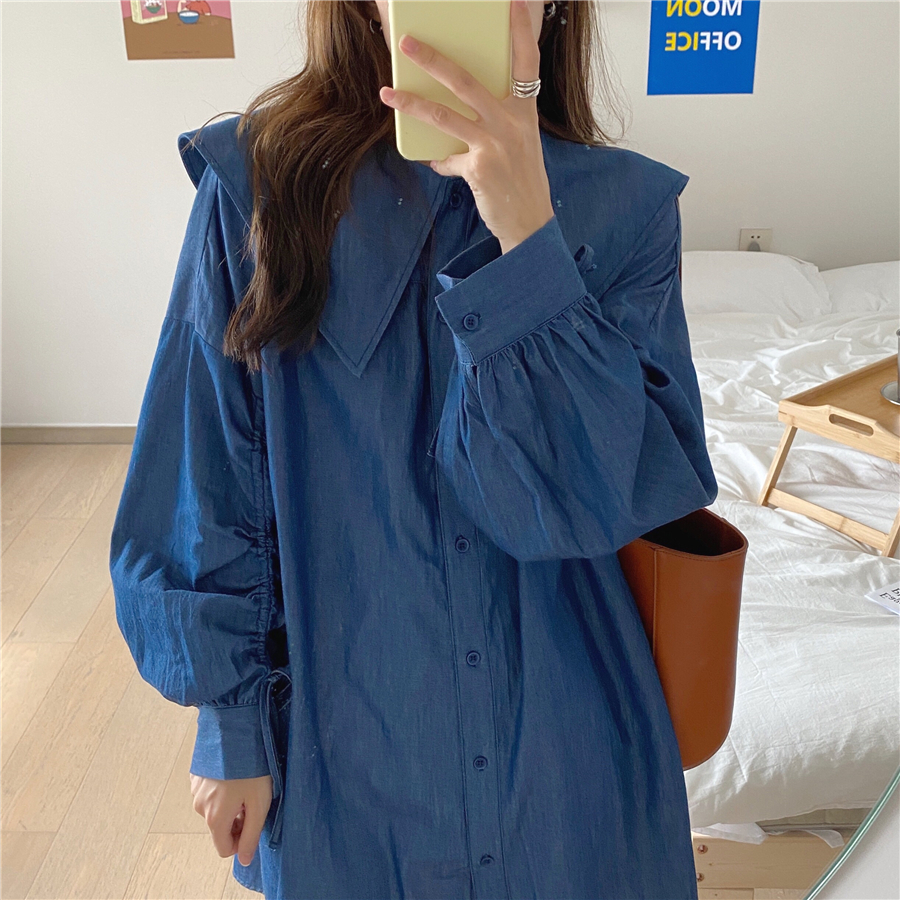 Hc6c07ef001314c56b33f4c98e1d445deD - Autumn Korean Big Lapel Collar Long Sleeves Drawstrings Solid Mini Dress