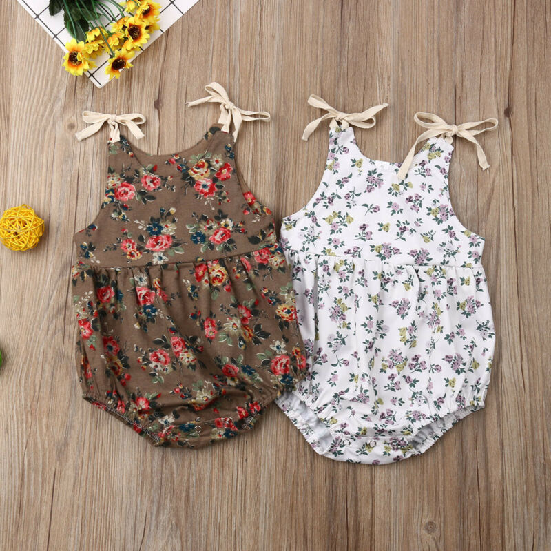 Summer Baby Clothes Kids Newborn Baby Girl Floral Sleeveless Romper One Piece Jumpsuit Outfit 3-24M