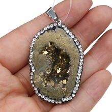 Друза природного камня кулон неправильной черный/золотой изготовление