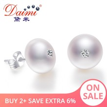DAIMI 9-10mm Natural Big Pearl Earrings Shiny Crystal Earrings 100% Genuine 925 Sterling Silver Studs Earrings Office Chic Jewel(China)