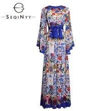 Женское Элегантное Длинное Платье seqinyy бело синее платье
