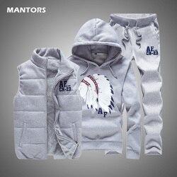 3Pcs Vest Pak Mannen Trainingspak Herfst Winter Heren Set Fleece Vest + Hoodie + Broek Streetwear Fashion Casual Track pak Mannen Kleding