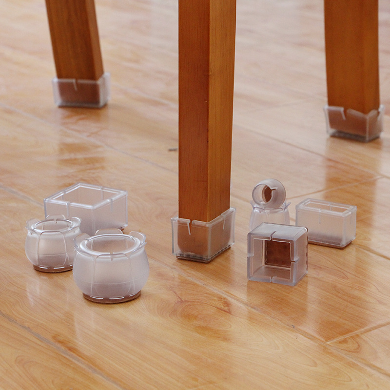 10PCs/set Transparent Non-Slip Silicone Mat Table Desk Chairs Gloves Foot Protection Pad Sleeve Furniture Accessories