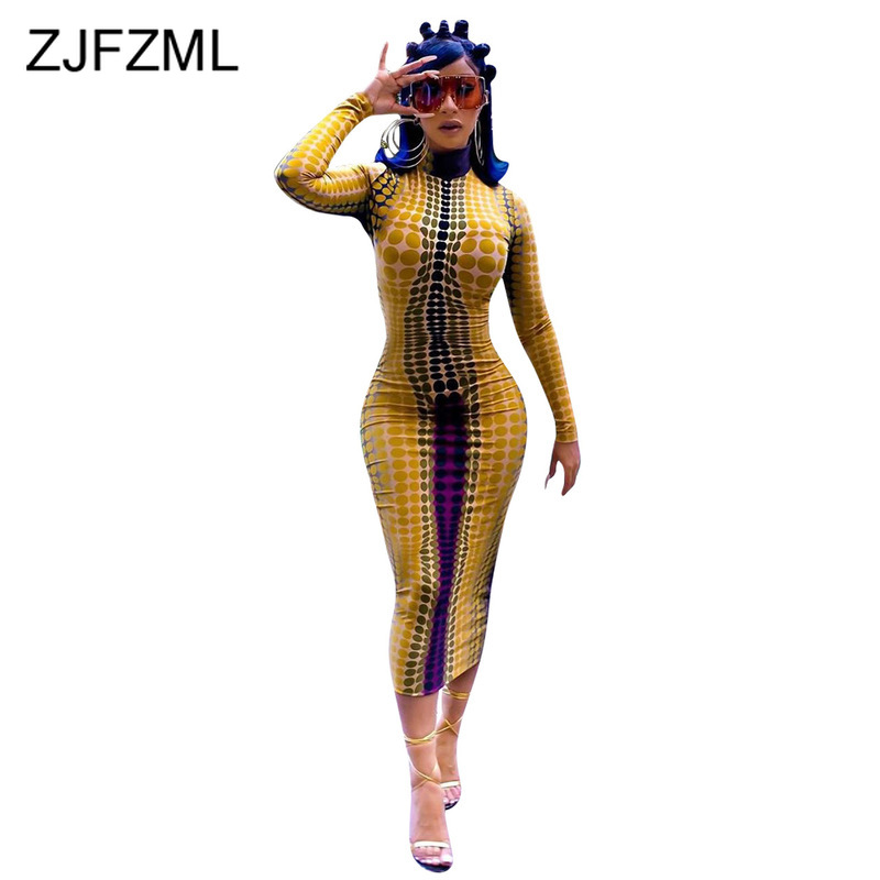 Polka Dot Sexy Long Sleeve Dress Women Turtleneck High Waist Skinny Party Night Club Dress 2019 Fall Plus Size Bodycon Dresses