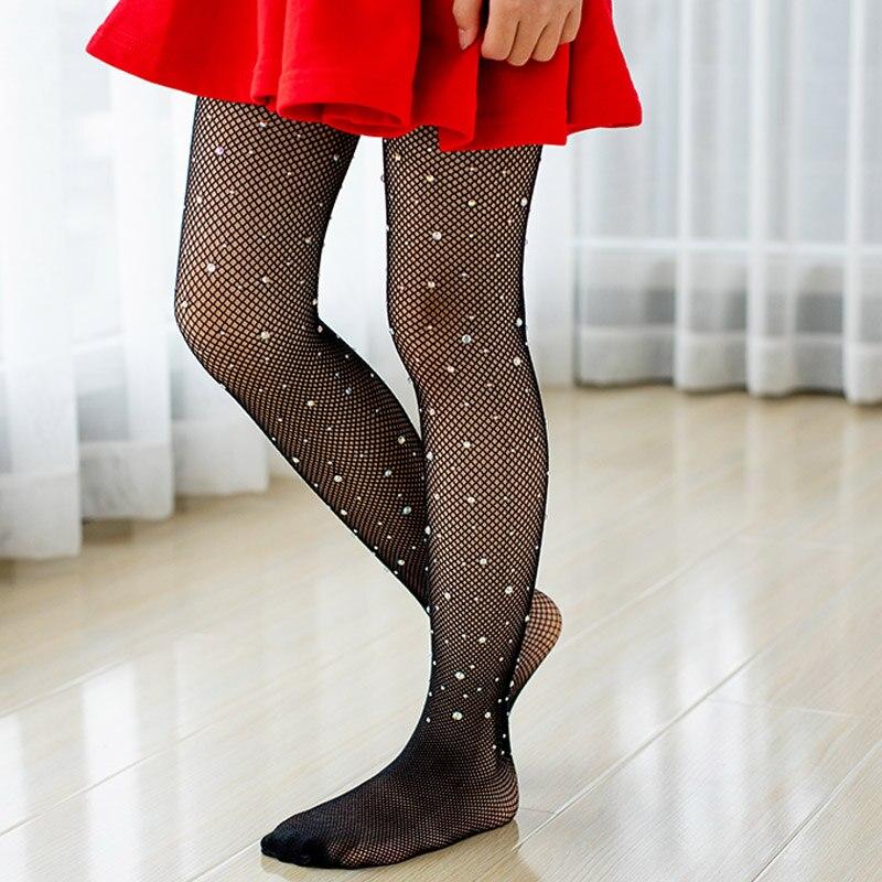 Children Tights Rhinestone Mesh Pantyhose Stockings Net Pattern Thin Pantyhose Summer Baby Tights for Girls Kids 2