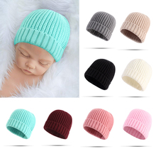 0-12M Baby Winter Warm Hats Newborn Boy Girl Knitted Elastic Solid Bonnet Caps Household Children Learning Ornament