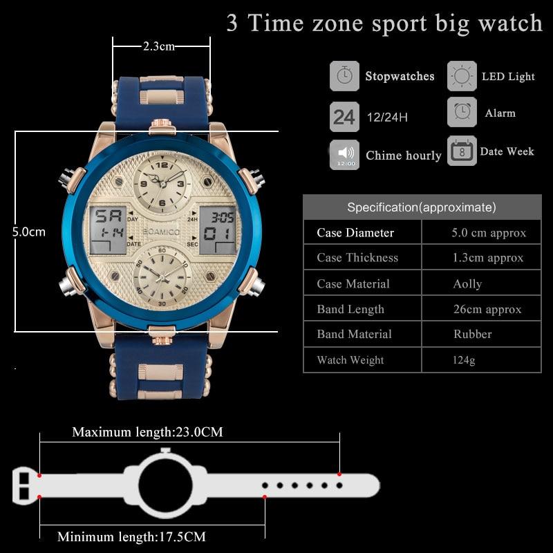 Image 3 - BOAMIGO Watch Men Top Luxury Brand Men Sports Watches Mens Quartz LED Digital Clock jam tangan men relogio masculinoQuartz Watches   -