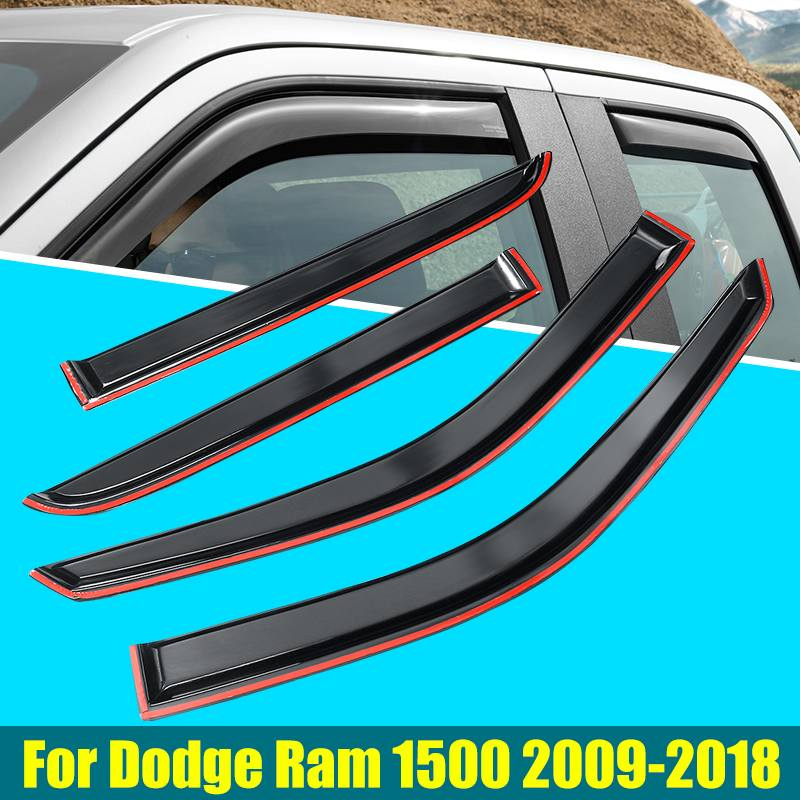 4PCS/Set Car Weathershields Window Visor For Dodge Ram 1500 2500 3500 09-18 EJ Deflector Rain Guard