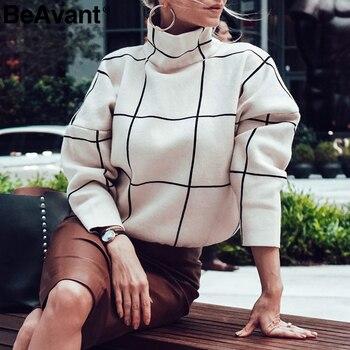 BeAvant Plaid col roulé femmes pull chandails décontracté bureau dames vêtements d'extérieur chandails tricotés automne hiver femmes pulls