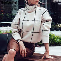 BeAvant Plaid turtleneck women pullover sweaters Casual office ladies outerwear knitted sweaters Autumn winter female jumpers