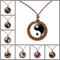 Инь Ян тайчи символы деревянное ожерелье стеклянный кабошон ювелирные изделия ожерелья модные аксессуары деревянная подвеска для мужчин ж...