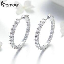 Bamoer clássico nova cor de prata círculo redondo luminoso zircônia cúbica brincos para mulheres hyperbole jóias yie138