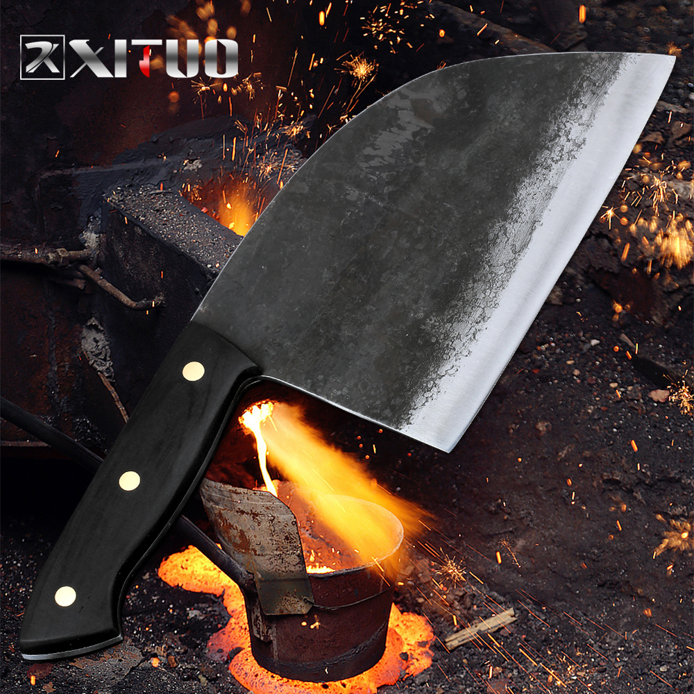 XITUO Full Tang Handmade Forged Chef Knife Hard Clad Steel Blade Butcher Slaughter Cleaver Knife Kitchen Chopping Slicing Tool|Kitchen Knives|   - AliExpress