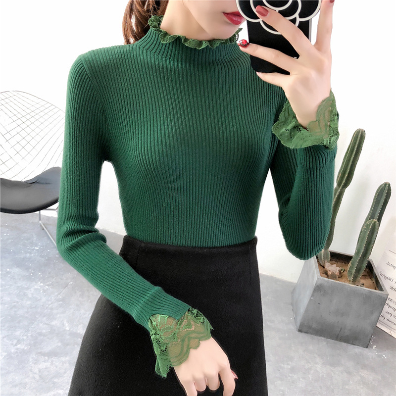 Elegant Sweety Turtleneck Lace Sweater for Women Korean Spring Green Sweaters Winter Knit Pullover Female Jumper Lady Pull Femme