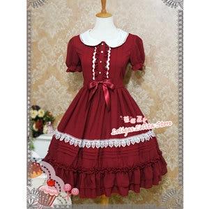 Image 3 - Tatlı Kısa Kollu Şifon yaz elbisesi Sevimli Peter Pan Yaka Lolita OP tarafından Çilek Cadı