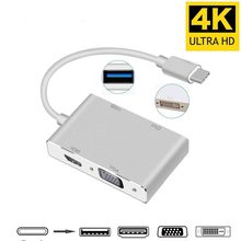 4 In 1 USB C Hub Type C To HDMI VGA DVI USB 3.0 Adapter Cable for Laptop Apple Macbook Google Chromebook Pixel(China)