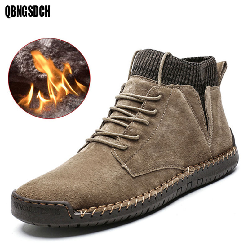 Brand Snow Boots Winter Men Plush Warm Men Motorcycle Boots With Non-slip Men Ankle Boots High To Help Men Work Shoes