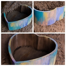 New retro chic custom love small wooden shed rainbow basin newborn photography props photography basket accessories 40*40*15cm
