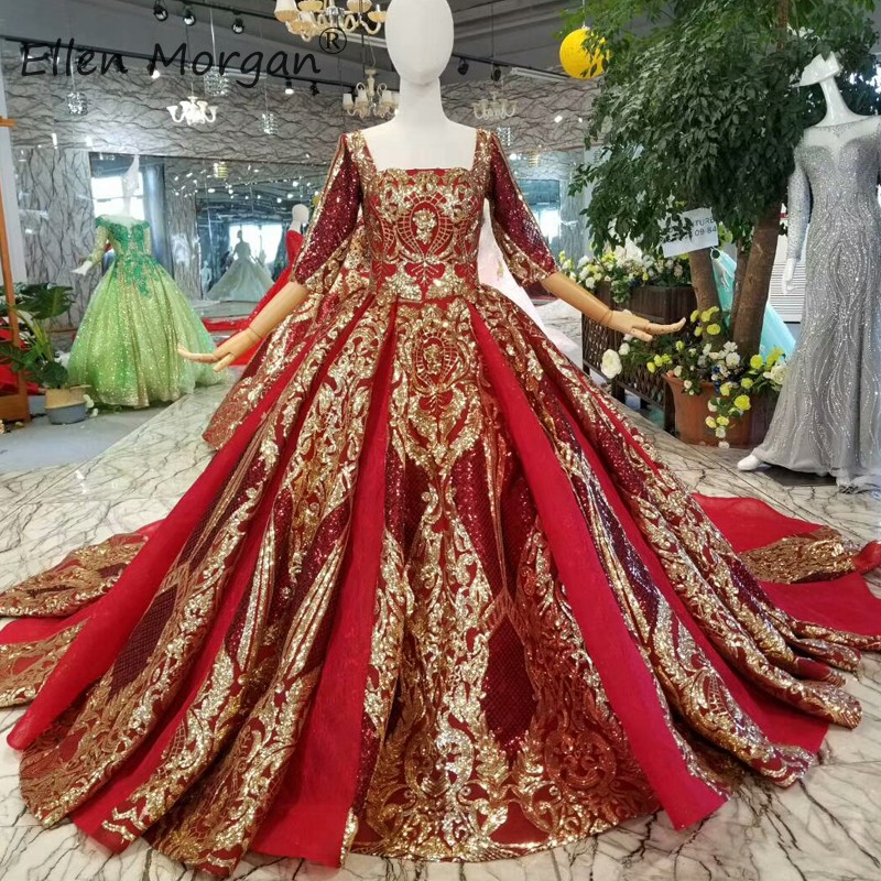 Arabic Muslim Burgundy Wedding Dresses Ball Gowns 2019 Elegant Sequins Backless Glitter Vestidos De Novia For Dubai Bridal Gowns