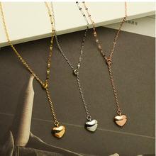Женское ожерелье с подвеской в виде сердца из нержавеющей стали