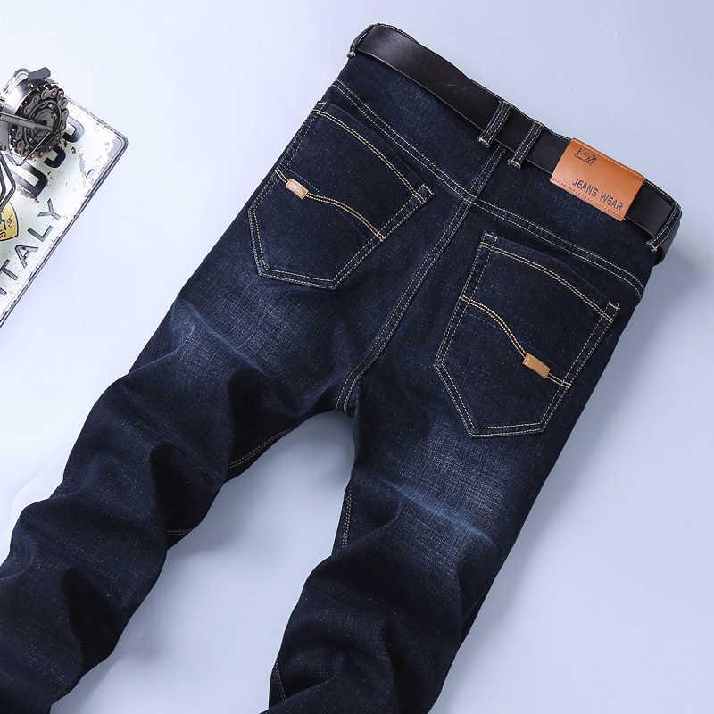 Dopasowane jeansy rurki spodnie jeansowe spodnie męskie Biker męskie rozciągliwe Casual Designer miękkie Jean Business prosto niebieskie czarne wysokiej jakości