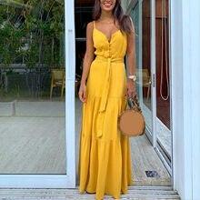 Robe d'été pour femmes, Style Boho, sans manches, à bretelles, col en v, à bandes, robe de soirée, de plage, # M