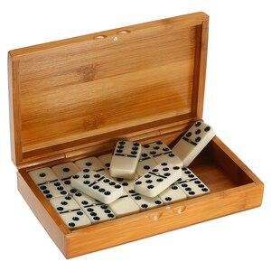Image 3 - ダブル 6 ドミノセットエンターテイメントレクリエーション旅行ゲームブロック木造建築学習教育玩具ドットドミノ