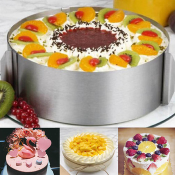 16-30CM Adjustable Stainless Steel Cake Mold Cookie Fondant Mousse Ring Baking Tool Round Bakeware Cake Decorating Tools diniwell 12 pcs round circle stainless steel cookie cutter cake decorating fondant mousse cake molds kitchen baking cookie tools