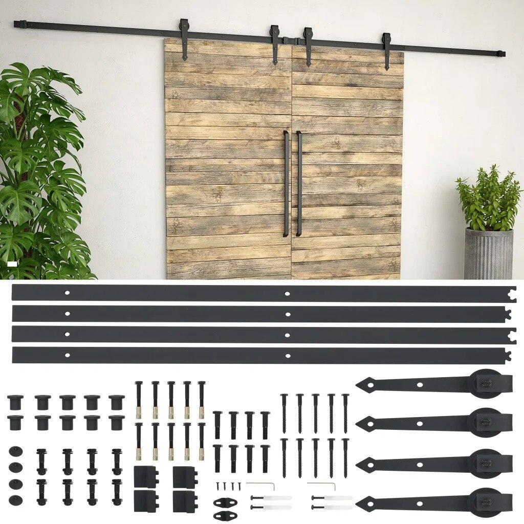 VidaXL Kit de quincaillerie de porte en bois de grange coulissante en acier 2x183cm Kit de voie coulissante glissière Rail suspendu pour porte placard mouvement noir V3