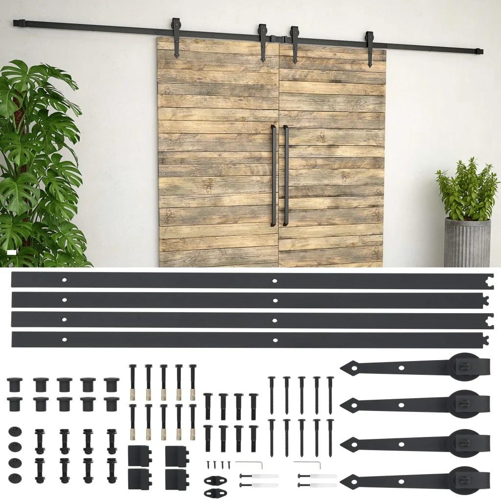 VidaXL Steel Sliding Barn Wood Door Hardware Kit 2x183cm Sliding Track Kit Slide Hanging Rail For Door Closet Movement Black V3