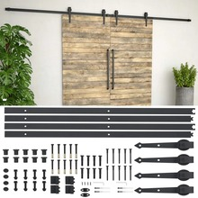 VidaXL Steel Sliding Barn Wood Door Hardware Kit 2x183cm Sliding Track Kit Slide Hanging Rail For Door Closet Movement Black