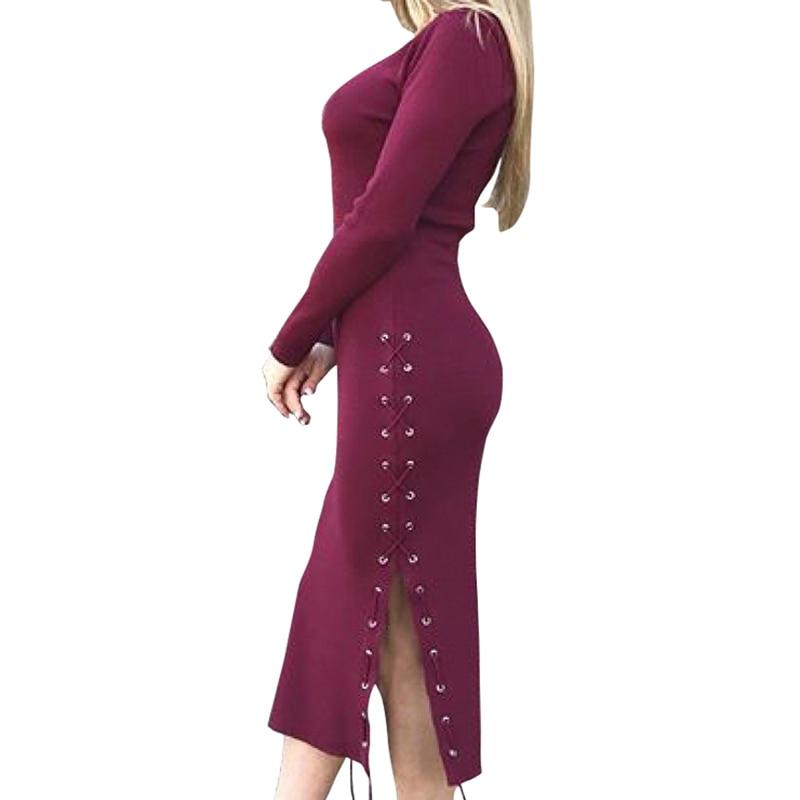Women Lady Office 2019 Winter Side Spit Lace Up Dress Long Sleeve Knit Robe Jurken Feminina Bodycon Autumn Knitted GV1041