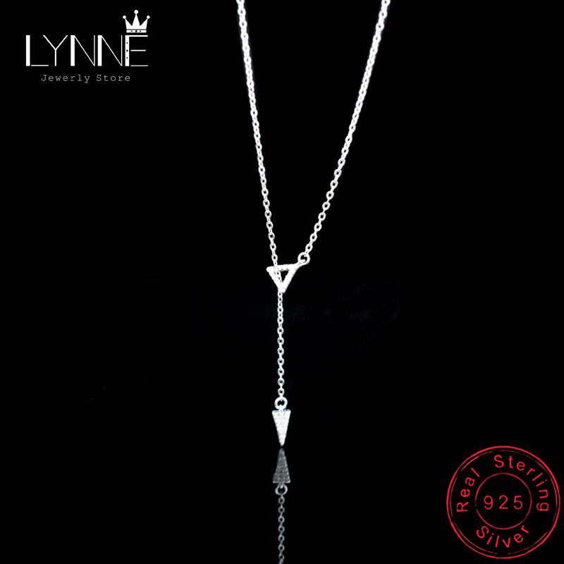 New Fashion 925 Sterling Silver Triangle Adjustable Collarbone Necklace Ladies&Girl Jewelry Rhinestone Pendant Clavicl Necklace