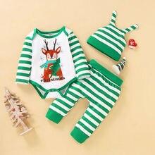 Одежда в полоску с оленем для новорожденных мальчиков; комбинезон с длинными рукавами; Топы Брюки шляпы; Рождественская осенняя одежда