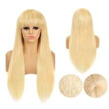 Парик блонд человеческие волосы 613 прямые парик с челкой 8
