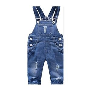 Image 4 - ילדים של ג ינס סרבל 12M כדי 4T ילדים כחול סרבל ג ינס מכנסיים עם חורים שבורים בני בנות ילדים של בגדים