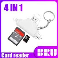 BRU-lector de tarjetas SD, adaptador de memoria microSD de 4 en 1, OTG, todo en uno, para iphone a tipo c, tarjeta Micro Sd USB