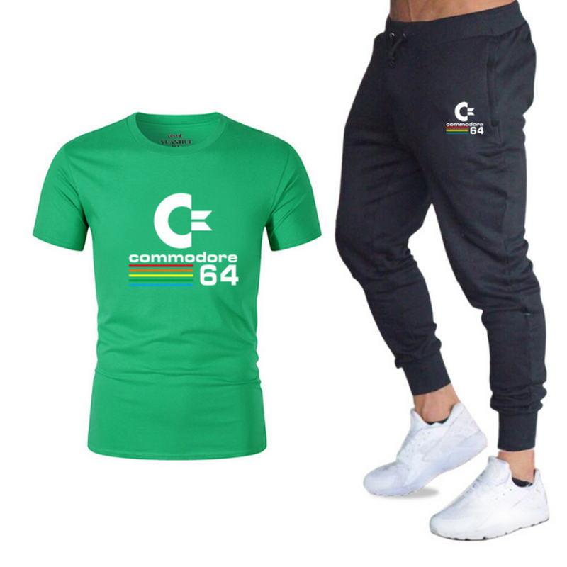 Summer Hot Sale Men's Sets T Shirts+trousers Two Pieces Sets Casual Tracksuit Male 2019 Casual Tshirt Gyms Fitness Trousers Men