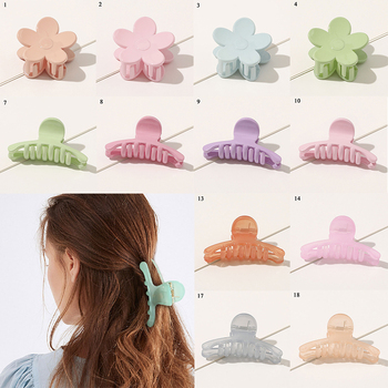 Flower Pattern Hair Claws Geometric Plastic Jelly Color Hairpins Banana Grips Hair Clip Hair Clamp Light Color Hair Accessories image