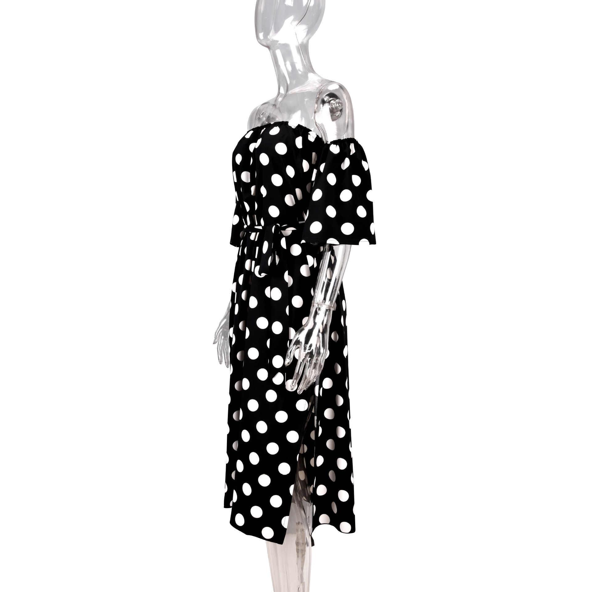 Zaraing stil yaz sıcak satış slash boyun straplez dot şifon elbise plaj tatil uzun elbise kapalı tek omuzlu elbise kadınlar 2020