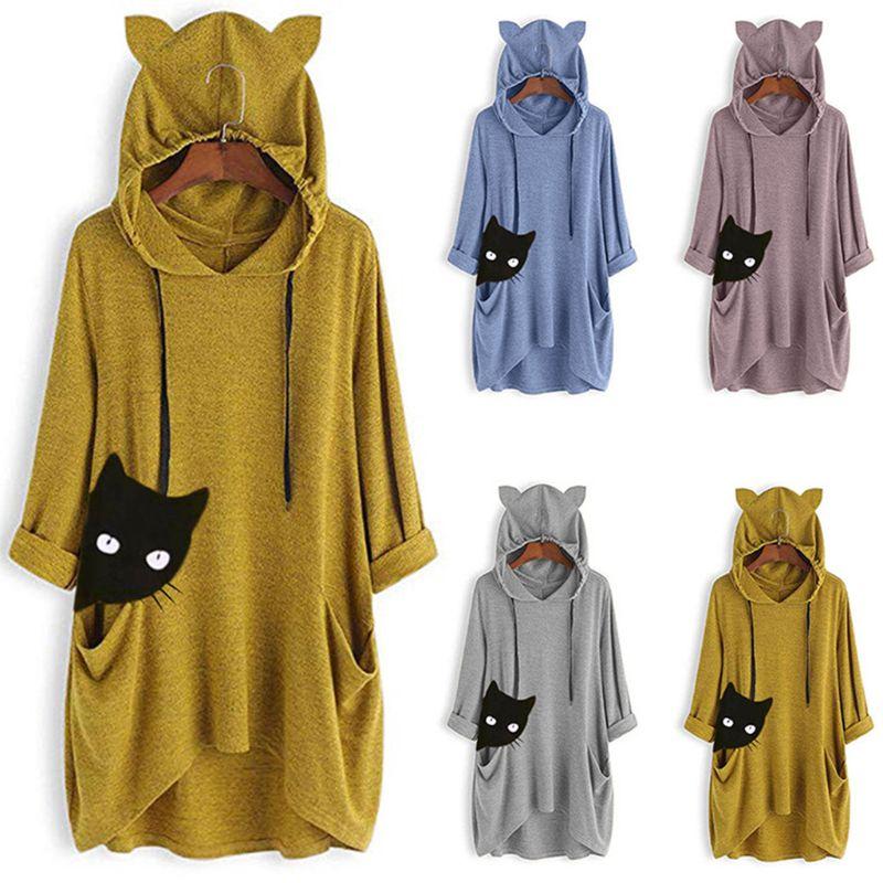 Womens Plus Size Drawstring Hoodies Black Cat Head Graphic Printed Pullover Sweatshirt Asymmetric Hem Pockets Tunic Tops M-5XL