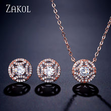 ZAKOL Classic Round Cubic Zirconia Earrings Necklace Set for Women Dinner Birthday Bridal Jewelry FSSP3034(China)