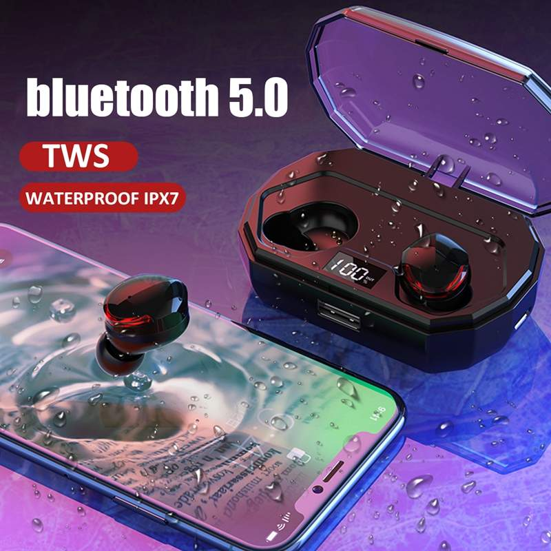 R10 TWS Wireless bluetooth 5.0 Earphone IPX7 Waterproof Sport Earbuds Touch Control HiFi Stereo Bilateral Calls Headset with Mic
